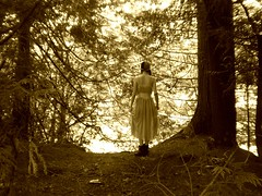 bright eyes in a forest of gold (alesha joy.) Tags: trees sepia danger forest vintage model waiting dress sophie eerie intothewild
