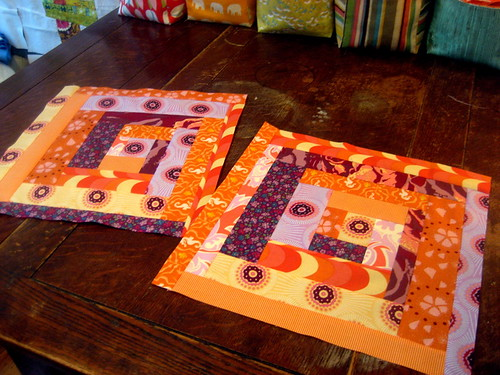 purple and orange log cabin blocks