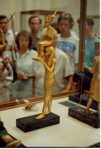 1. Gilded wood statue of Tutankhamun being carried by a goddess, photo by Paul Lombardo