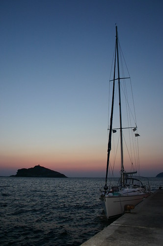 Sunrise over a Yatch in the Greek Isles