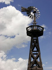Cloud Mill (sarowen) Tags: blue sky white windmill clouds texas bluesky refugio texassky refugiotexas