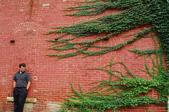 man vs. nature (Jeremy Stockwell) Tags: selfportrait brick me wall nikon pattern patterns vine surface brickwall surfaces manvsnature d40 jeremystockwell selfportraitchallenge jeremystockwellpix nikond40