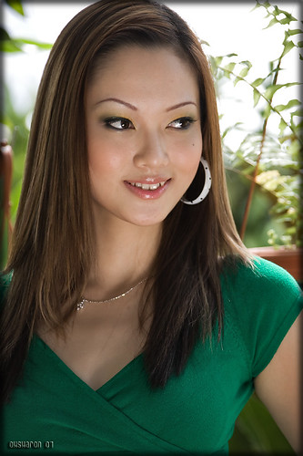Sexy Asian Model: Green Blouse is Christty