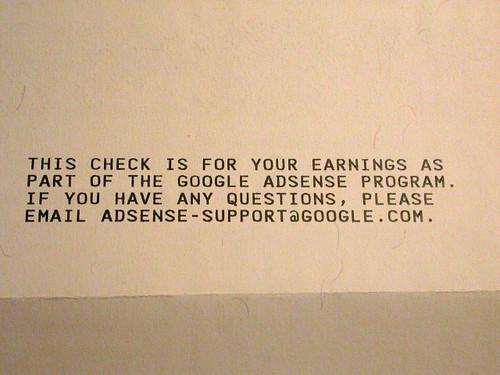 Cheque de AdSense mensaje