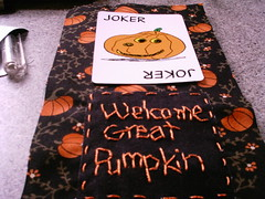 welcome great pumpkin (shebrews) Tags: halloween pumpkin embroidery peanuts stitchery halloweenstitchery