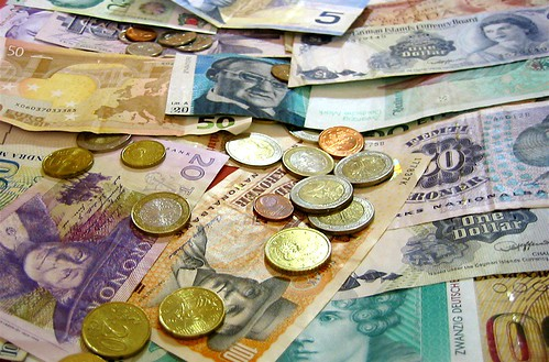 Foreign Currency and Coins by bradipo, on Flickr