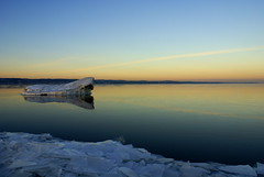 Iceberg on Lake Superior (Angiezpics) Tags: blue winter sunset snow ice minnesota sony explore iceberg fp frontpage duluth lakesuperior a100 explored sonya100 alpha100 angiezpics