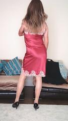 Full slip in pink with cream lace (deborah summers2010) Tags: black dress full jacket heels slip satin