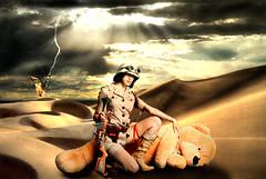 Big Game (L.C.Nttaasen) Tags: light sky sun texture ass hat zach by female photoshop john fire jones big model gun desert julia teddy marcus flames jerry rifle goggles dramatic surreal safari teddybear rays lightning starr spooner ranum magnera dischner