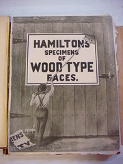 Hamilton's Wood Type catalog #17 (1901) (Nick Sherman) Tags: museum wisconsin typography book wheatpaste hamilton cover printing type letterpress specimen typeface woodtype tworivers