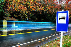 Ghost Car (Omar Junior) Tags: blue bus colors car pentax d ghost junior speedy omar ist pentaxistd longa exposicao