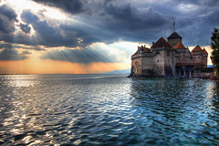 The Sun Sets on Château de Chillon - by Pear Biter