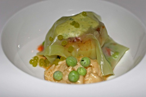 Scallop with peas and brown butter foam