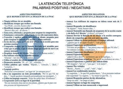 atención telefónica positivo / negativo