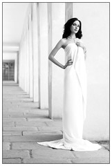 Bianna in the colonnade (hannes.trapp) Tags: bw woman girl beautiful beauty canon eos hannes model shoot dress arcade hallway sw shooting thin schwarzweis colonnade 2007 trapp 50mmf18 400d bianna hannestrapp platinumheartaward worldphotodoc2007