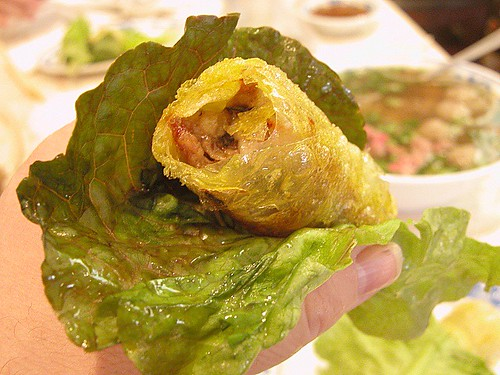 Cha Gio, spring rolls. Spring Roll in lettuce wrap