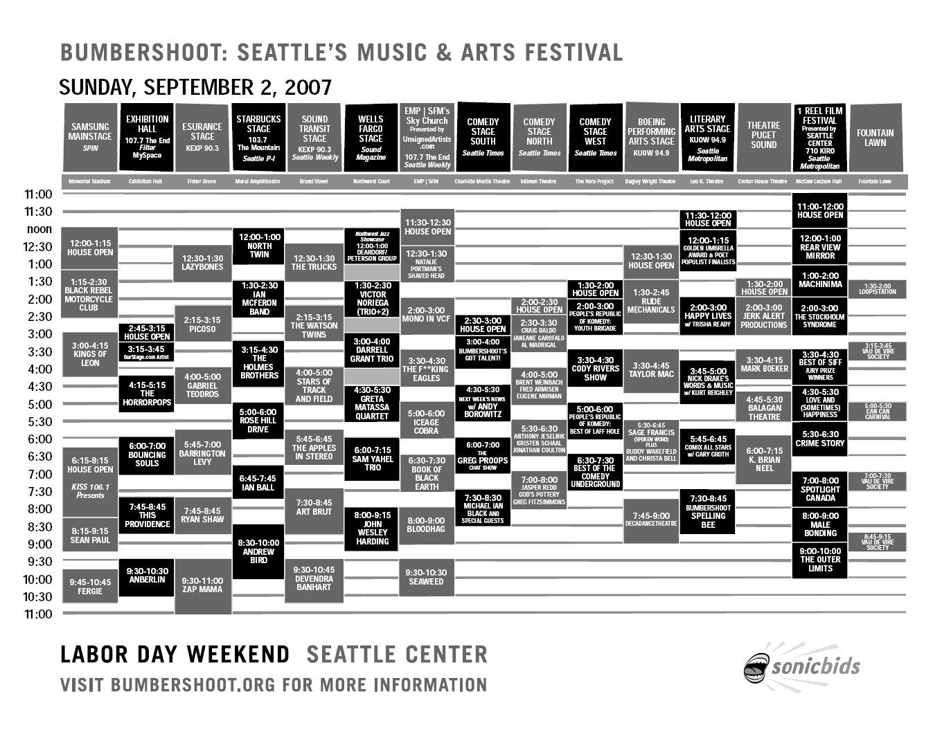 Bumbershoot 2007 Festival Schedule - Sunday 9/2
