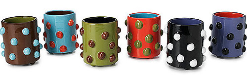 ZOLO-WARE BEVERAGE MUGS - SET OF 6 | Vibrant earthenware mugs with inovative heat-resistant dots instead of handles | UncommonGoods :  blue home purple mugs