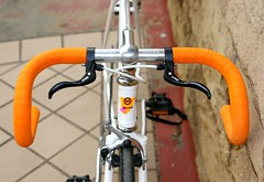 Cyclocross Levers and Cinelli Orange Wrap (pcnotpc) Tags: sf orange white rain bike bicycle by speed san francisco conversion single pete singlespeed brake 414 velo cyclocross levers miyata