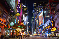 Blade Runner (Rafakoy) Tags: street city nyc newyorkcity light people test signs ny color colour building cars colors car sign skyline night digital buildings lights high nikon cityscape colours with image bladerunner manhattan perspective 42ndst picture taken images iso pointofview example timessquare sample amc nikkor avenue regal 42nd d7000 afsnikkor18105mmvr nikond7000