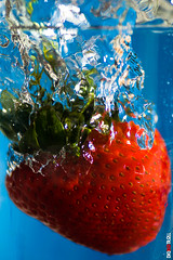 Juicy Strawberry Fruit in Water (BigRedTroll) Tags: beverage blue bubble cocktail cold color cool curaco diet drink drop fall food fresh fruit health healthy juice juicy nature nutrition nutritious organic plunge punch red refreshing seed soda splash strawberry succulent vortex water