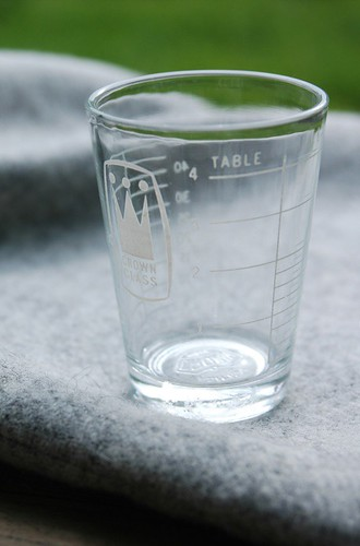 crown glass wee measuring cup