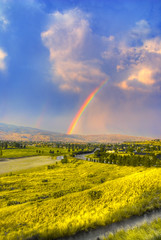 Rainbow over Boise (Avi.) Tags: road grass rainbow hills boise soe 1870mm 18mm blueribbonwinner soccerfields specnature nikond80 resizedforflickr hdrd3exp