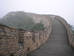 The Great Wall at Mutianyu -  (Linda^) Tags: china rock fog wall grey beijing tourists  greatwall