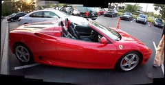 Autostitch of a Ferrari 360 Spider... (Steve Brandon) Tags: auto autostitch panorama usa car geotagged restaurant spider parkinglot automobile michigan widescreen unitedstatesofamerica detroit convertible 360 troy ferrari voiture spyder suburb modena supercar sportscar eatery barchetta redcar f360 exoticcar  konagrill italiancar   ferrari360spider redcarnation  ferrari360spyder ferrari360modenaspider ebigbeaverroad livemoisroad
