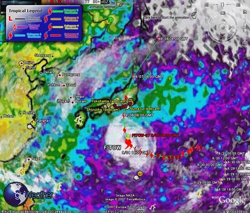 グーグルアースで台風予想情報