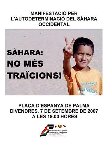 Cartell manifestació autodeterminació Sàhara Occidental