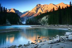 Ottertail Evening (storm light) Tags: sunset canada mountains reflection forest river evening waterfall bc alpenglow canadianrockies yohonationalpark floodplain kickinghorseriver waptafalls canonrebelxti ottertailrange