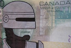 """Your Move, Creep"" (RoboQueen Redux) (Mordecai Sledge) Tags: canada money canadian 20 robocop defaced defacing deface banknote 20bill"