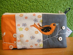 "cosmetic bag ""orange bird"" (monaw2008) Tags: bird handmade fabric button patchwork applique cosmeticbag qilting monaw2008"