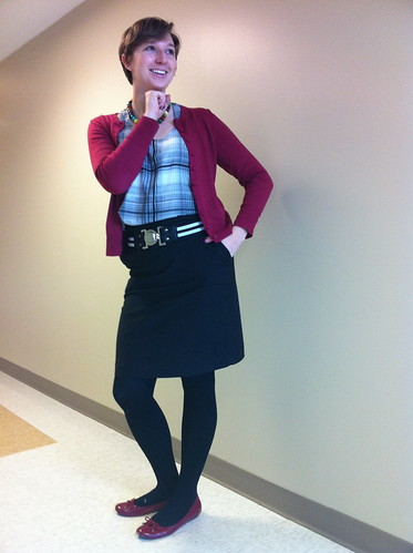 Black/white tank, raspberry cardi, black skirt, raspberry flats
