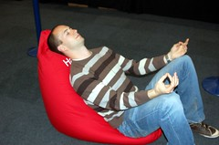 hacker meditating, London 2007