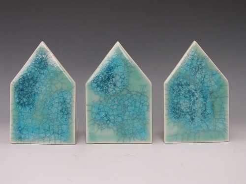 Set of 3 Stoneware Glazed House Wall Tiles da colorado art studio.