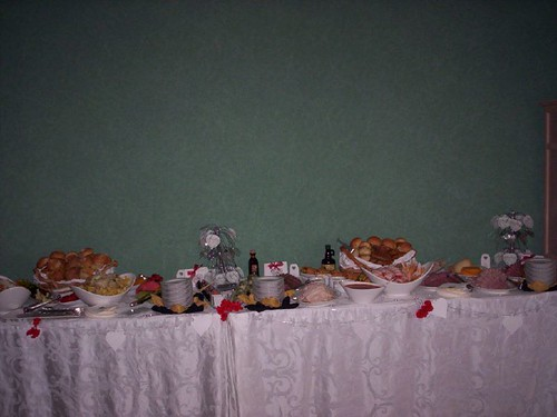 One of 3 buffet tables of food