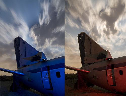Fotos iluminadas en rojo y azul
