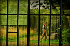 (Abra K.) Tags: trees selfportrait reflection green me photographer ~~ zurich zrich zuerich intermezzo glassfront oldbotanicalgarden selfreflexion