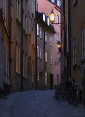 Street in Gamla Stan, Stockholm (sbdugdale) Tags: street city travel houses urban lamp bicycle architecture dark evening alley nikon sweden stockholm dusk empty 1870mmf3545g gamlastan d200 curve cobbles oldtown oldcity gaslight subtle subdued cobbledstreet abigfave aplusphoto theperfectphotographer goldstaraward