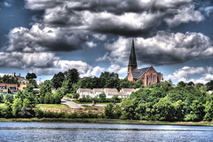 Bangor Church (Lawrence Whittemore) Tags: trees sky brick water clouds river lawrence bangor maine hdr penobscot payitforward whittemore