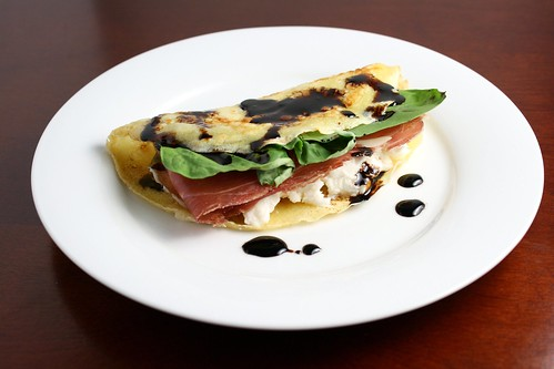 Prosciutto Mozzarella and Basil Crepes with Balsamic Reduction