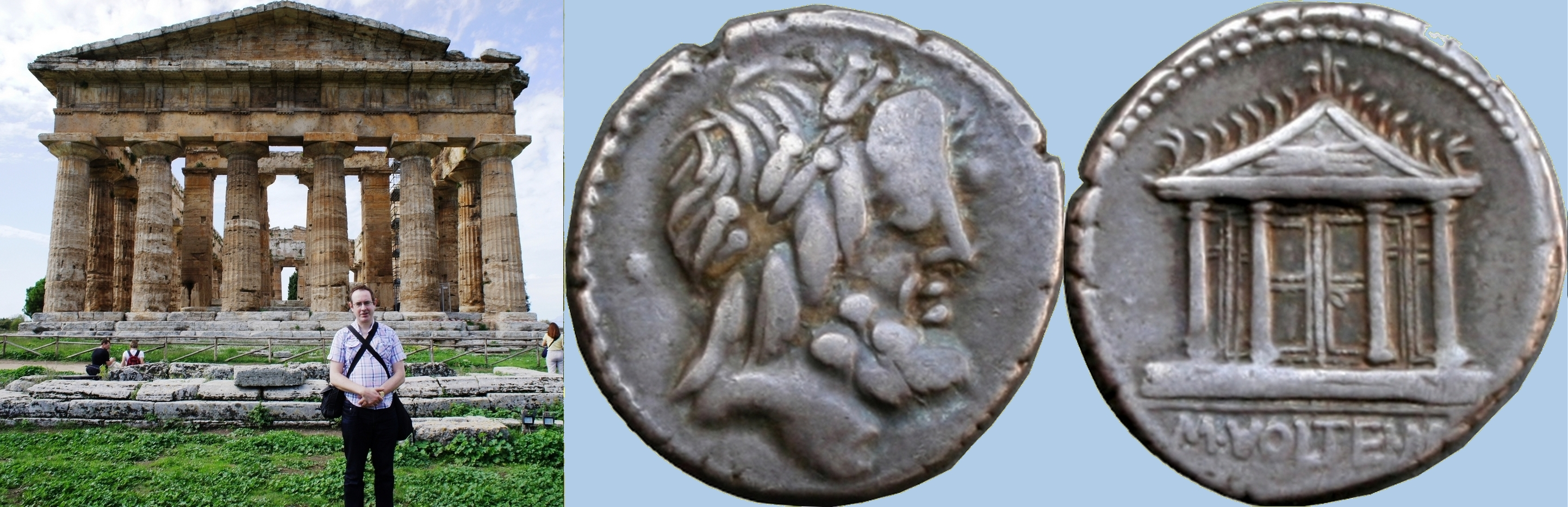 385/1 coin of Marcus Volteius with Temple of Jupiter Capitolinus alongside Paestum's Temple of Hera II 450BC