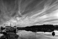 Under a dark sky (wetbicycleclappersoup) Tags: mill clouds mono october tide hdr woodbridge deben photomatix threeexposures