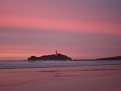 Sunset over Godrevy Lighthouse (coachmanphotos) Tags: ocean uk sunset sea england lighthouse seascape beach water canon landscape cornwall s90 canons90