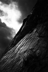 Stormlight on Rock Face (B&W)
