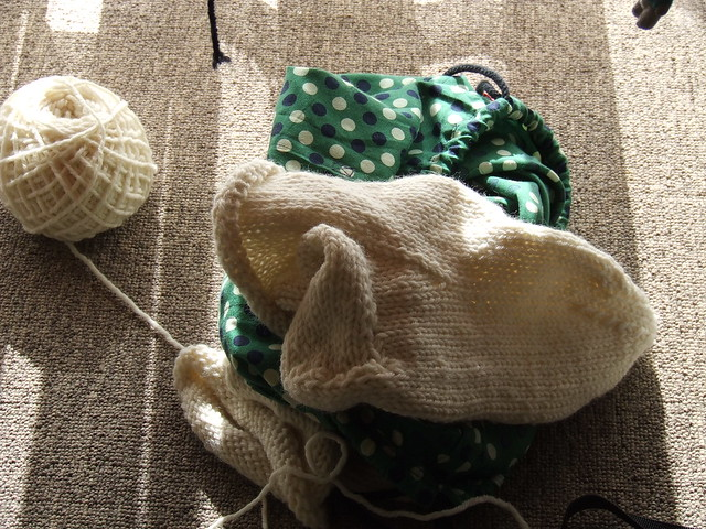 Slippers and knitting bag