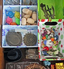 Enchanted Art Room Stash (Enchanticals ~I'm Coming Back) Tags: miniatures minis miniature 112thscale 16thscale enchanticals enchanticalsetsy etsy onetwelfthscale onesixthscale onefourthscale 14thscale stash supplies artroom create whatsinsidemydrawers drawercontents stuff beads blue cowboyhat blackhat blackcowboyhat hat metals swords hatchet weapons wood unfinishedwood barrels trays ornate birds feathers containers separate organized neat teapots yellow green orange red gold foil wrap wrapped gift package