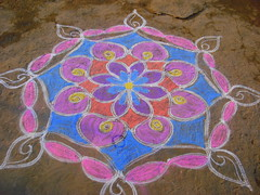 Kolam (rangoli) (!!devi!!) Tags: road white color colour kolam rangoli ricepowder